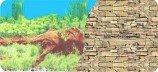 Фон двухстор 60см. Раст с корягой (синий) / Камен стена из сланца