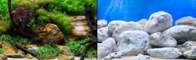 Фон двухсторонний 30см. Камни с мхом / Белые камни (синий)
