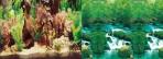 Фон двухсторонний 30см. Растительный с корягой / Водопад